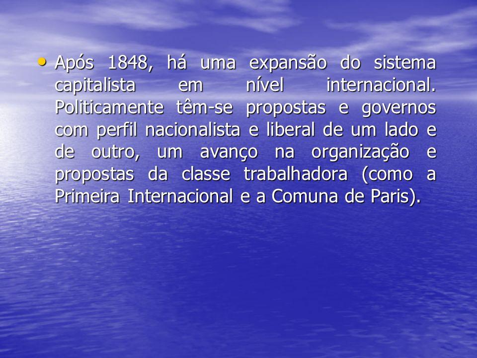 Após 1848, há uma expansão do sistema capitalista em nível internacional. Politicamente têm-se propostas e governos com perfil nacionalista e liberal
