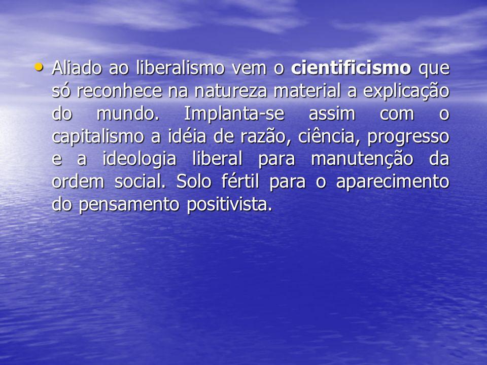 Aliado ao liberalismo vem o cientificismo que só reconhece na natureza material a explicação do mundo. Implanta-se assim com o capitalismo a idéia de