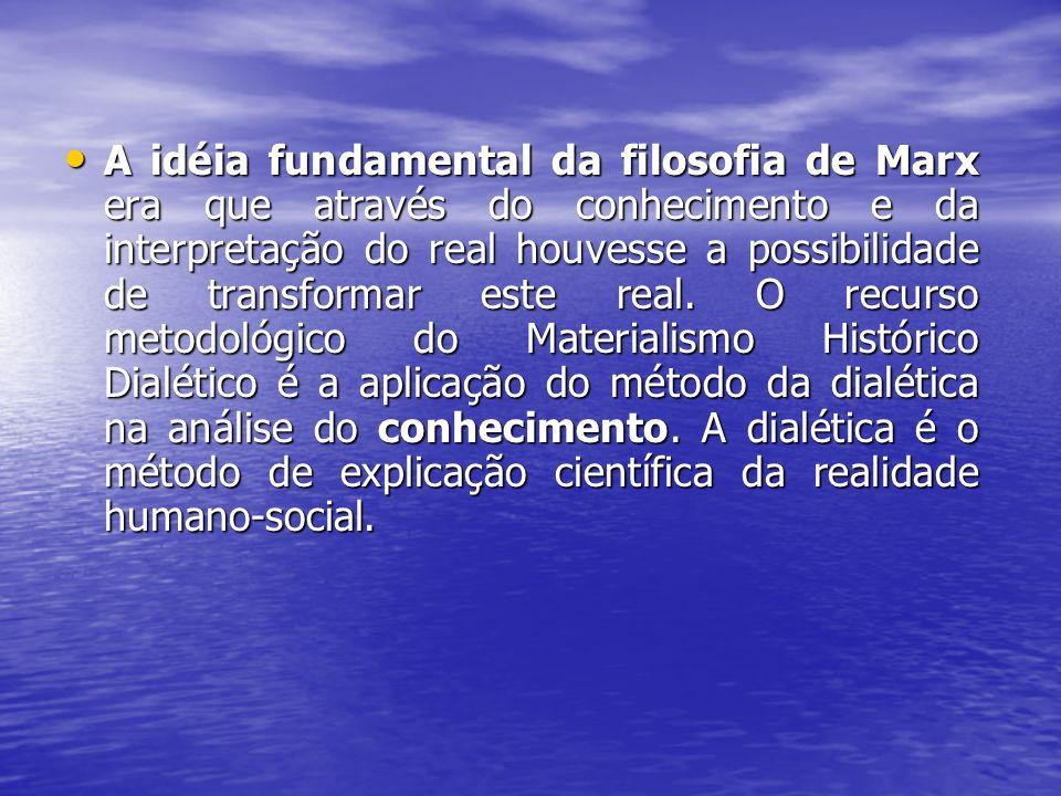 A idéia fundamental da filosofia de Marx era que através do conhecimento e da interpretação do real houvesse a possibilidade de transformar este real.