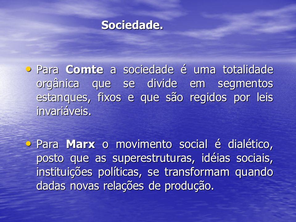 Sociedade. Sociedade. Para Comte a sociedade é uma totalidade orgânica que se divide em segmentos estanques, fixos e que são regidos por leis invariáv