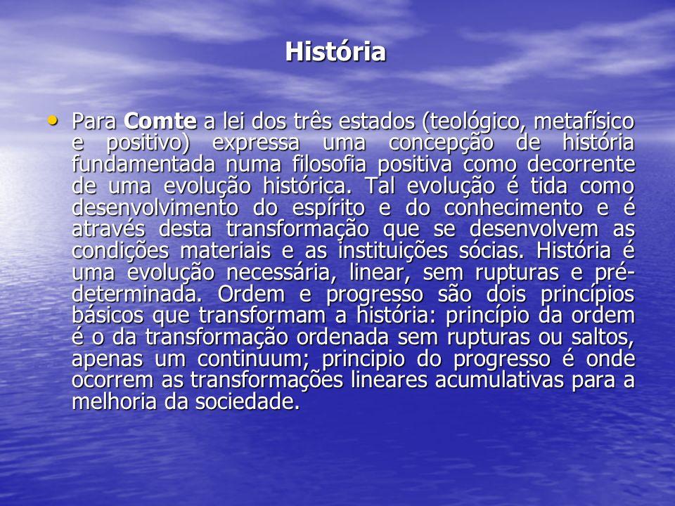 História História Para Comte a lei dos três estados (teológico, metafísico e positivo) expressa uma concepção de história fundamentada numa filosofia