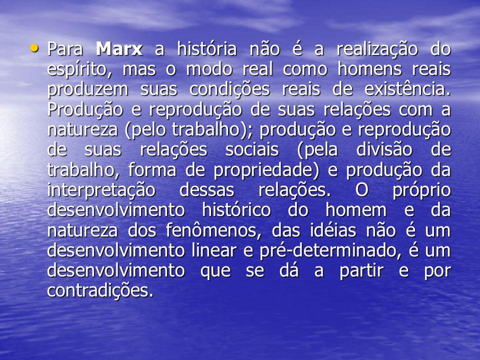Para Marx a história não é a realização do espírito, mas o modo real como homens reais produzem suas condições reais de existência. Produção e reprodu