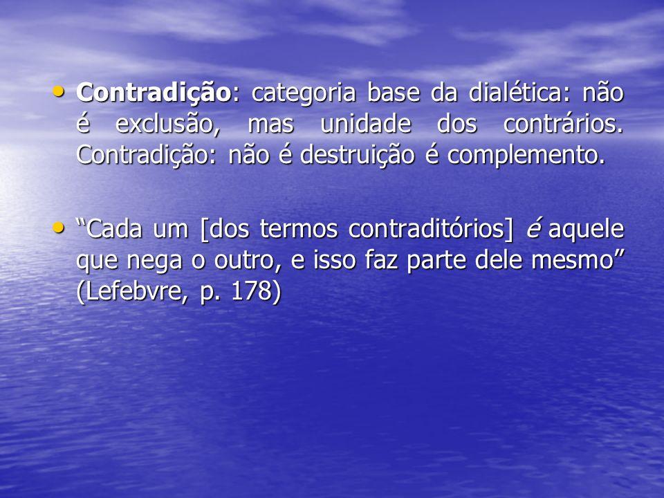 Contradição: categoria base da dialética: não é exclusão, mas unidade dos contrários. Contradição: não é destruição é complemento. Contradição: catego