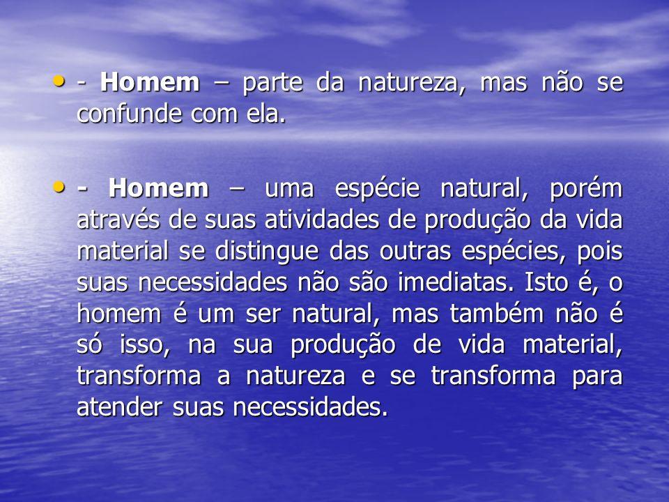 - Homem – parte da natureza, mas não se confunde com ela. - Homem – parte da natureza, mas não se confunde com ela. - Homem – uma espécie natural, por