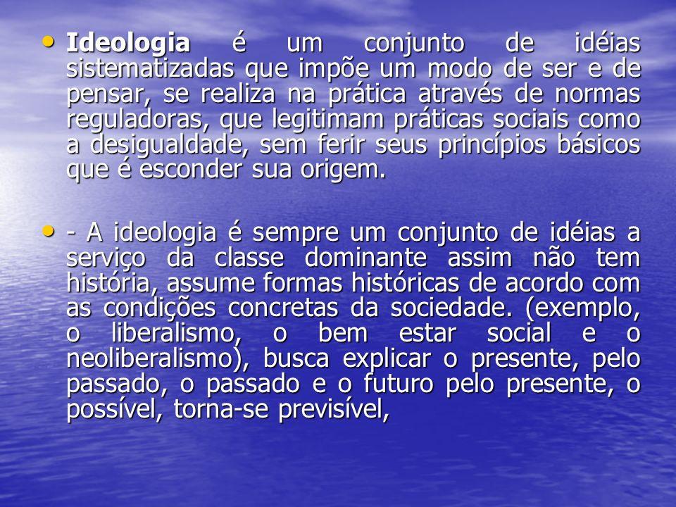 Ideologia é um conjunto de idéias sistematizadas que impõe um modo de ser e de pensar, se realiza na prática através de normas reguladoras, que legiti