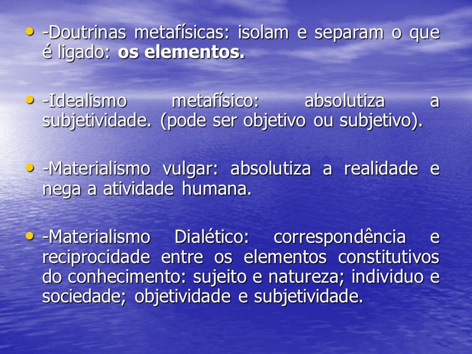 -Doutrinas metafísicas: isolam e separam o que é ligado: os elementos. -Doutrinas metafísicas: isolam e separam o que é ligado: os elementos. -Idealis