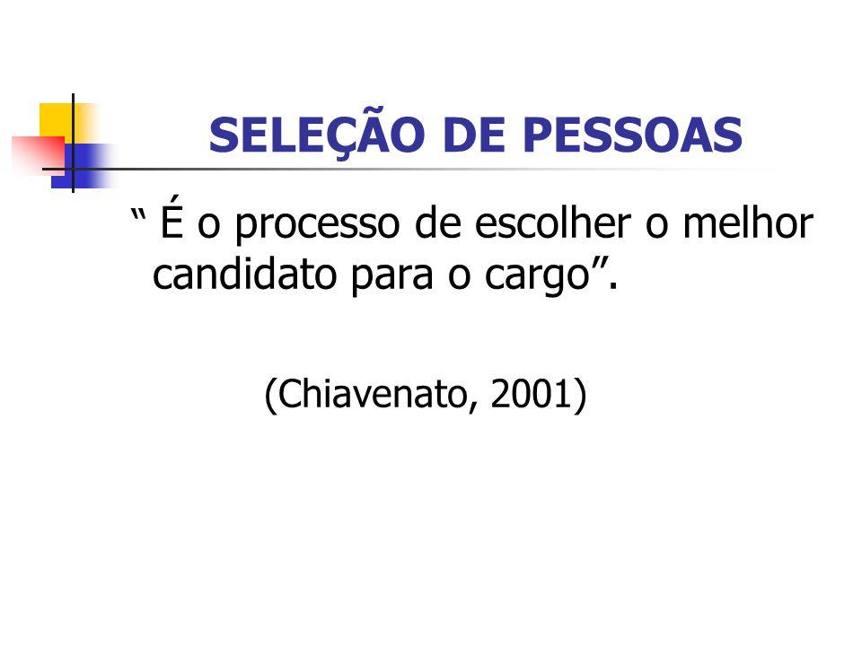 SELEÇÃO DE PESSOAS É o processo de escolher o melhor candidato para o cargo. (Chiavenato, 2001)