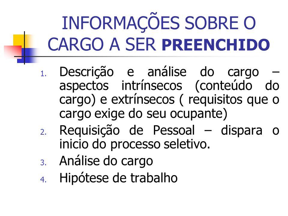 INFORMAÇÕES SOBRE O CARGO A SER PREENCHIDO 1. Descrição e análise do cargo – aspectos intrínsecos (conteúdo do cargo) e extrínsecos ( requisitos que o