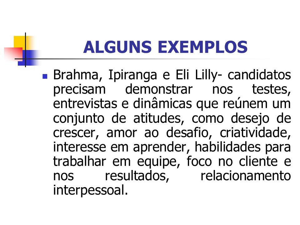 ALGUNS EXEMPLOS Brahma, Ipiranga e Eli Lilly- candidatos precisam demonstrar nos testes, entrevistas e dinâmicas que reúnem um conjunto de atitudes, c