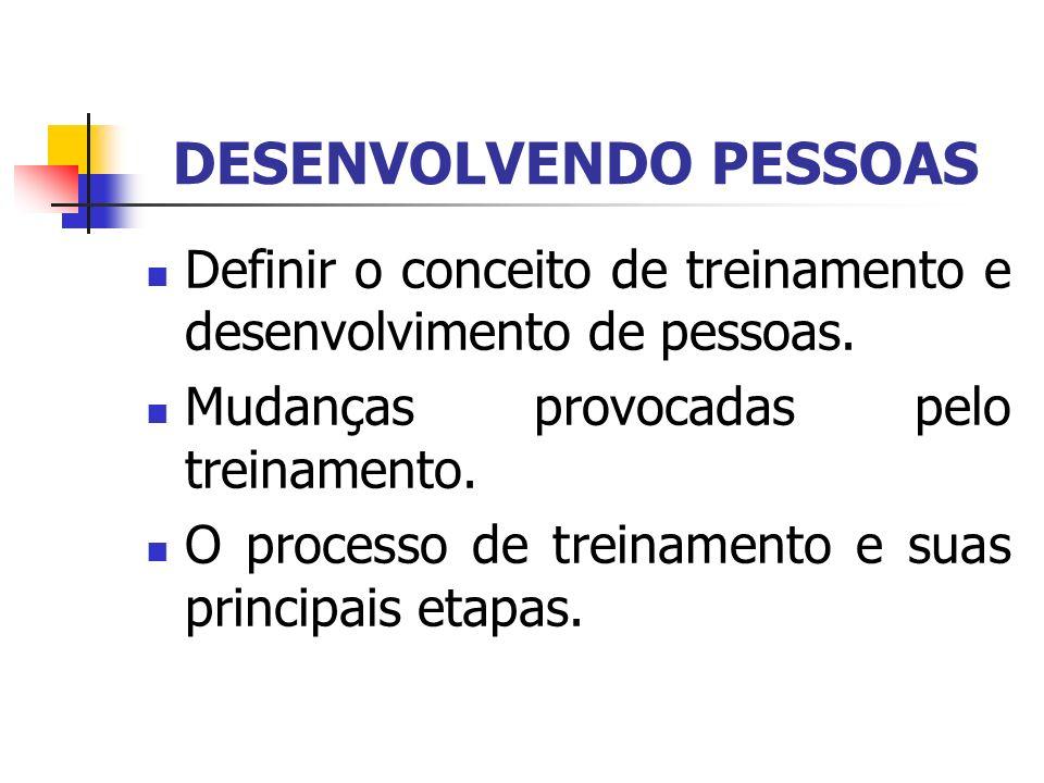 DESENVOLVENDO PESSOAS Definir o conceito de treinamento e desenvolvimento de pessoas. Mudanças provocadas pelo treinamento. O processo de treinamento