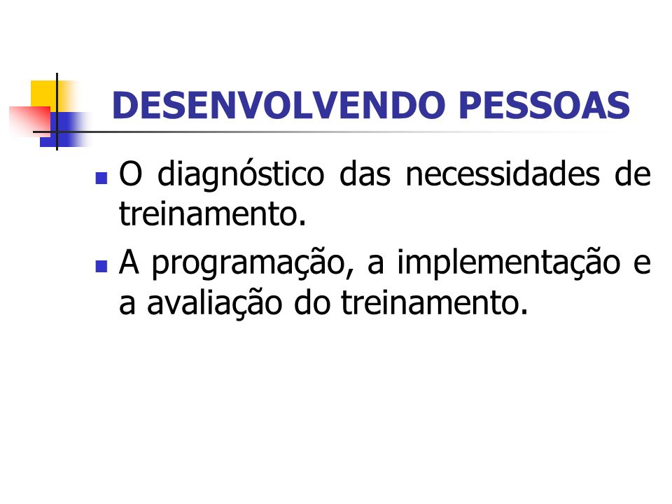 DESENVOLVENDO PESSOAS O diagnóstico das necessidades de treinamento. A programação, a implementação e a avaliação do treinamento.