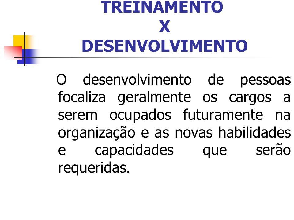 TREINAMENTO X DESENVOLVIMENTO O desenvolvimento de pessoas focaliza geralmente os cargos a serem ocupados futuramente na organização e as novas habili