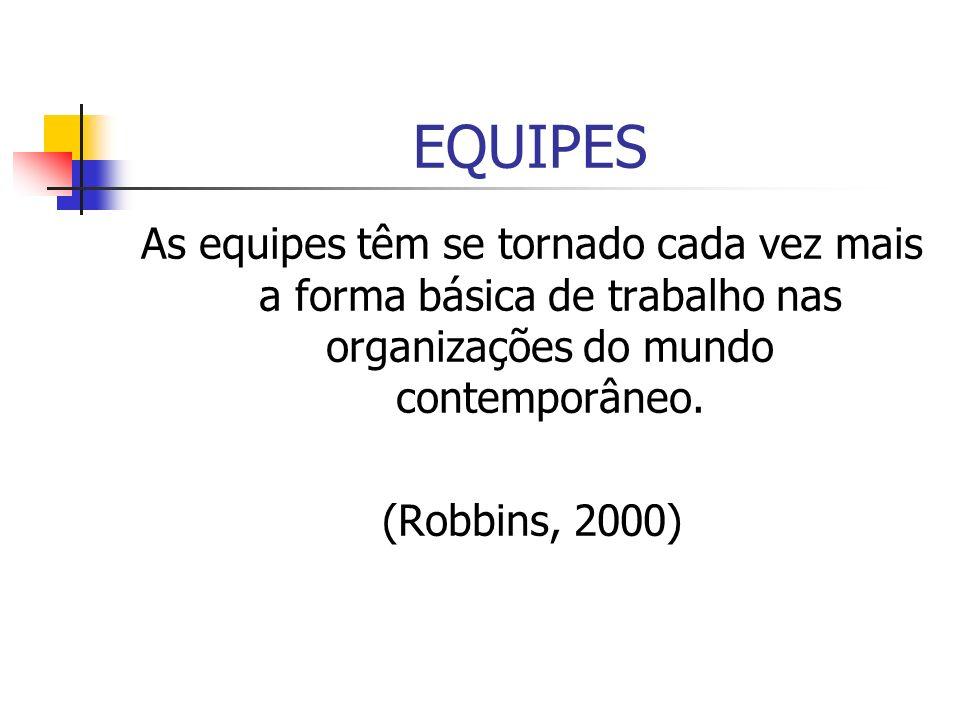 EQUIPES As equipes têm se tornado cada vez mais a forma básica de trabalho nas organizações do mundo contemporâneo. (Robbins, 2000)