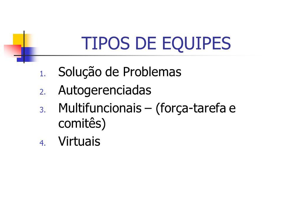 TIPOS DE EQUIPES 1. Solução de Problemas 2. Autogerenciadas 3. Multifuncionais – (força-tarefa e comitês) 4. Virtuais