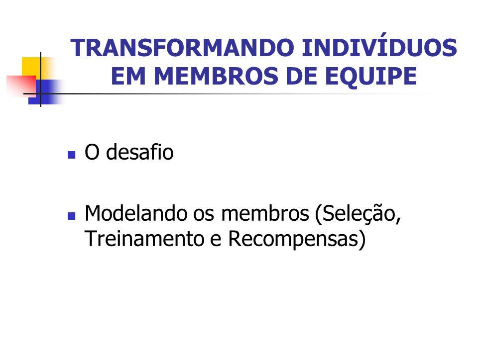 TRANSFORMANDO INDIVÍDUOS EM MEMBROS DE EQUIPE O desafio Modelando os membros (Seleção, Treinamento e Recompensas)