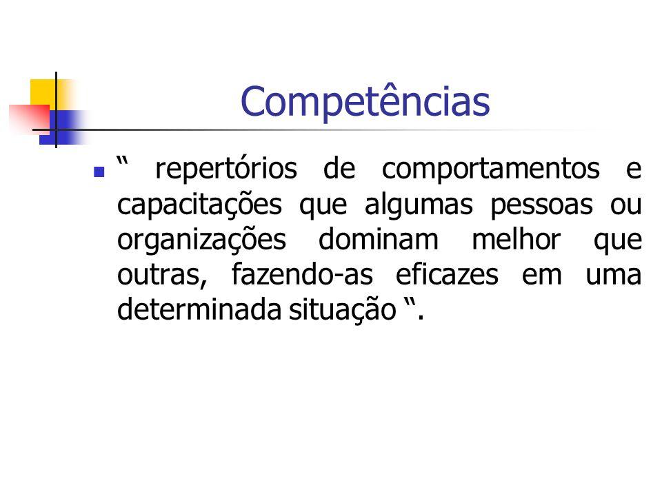Competências repertórios de comportamentos e capacitações que algumas pessoas ou organizações dominam melhor que outras, fazendo-as eficazes em uma de