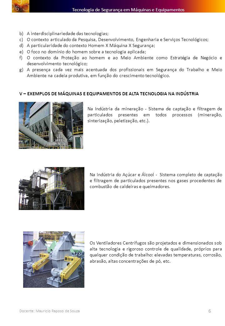 Docente: Mauricio Raposo de Souza 6 b)A interdisciplinariedade das tecnologias; c)O contexto articulado da Pesquisa, Desenvolvimento, Engenharia e Ser