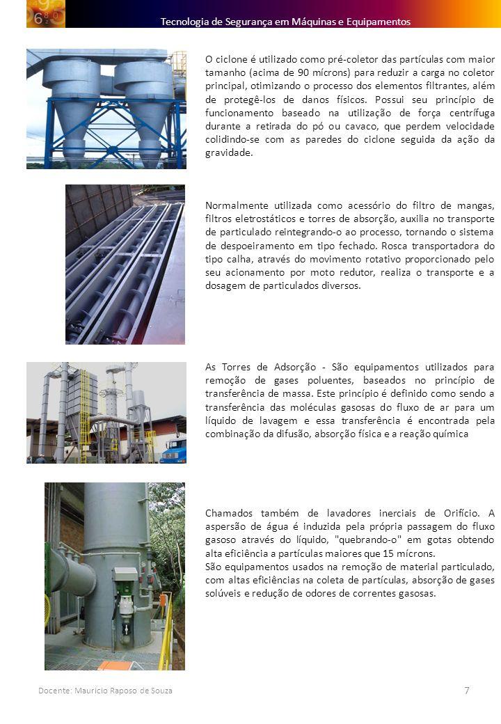 Docente: Mauricio Raposo de Souza 7 Tecnologia de Segurança em Máquinas e Equipamentos O ciclone é utilizado como pré-coletor das partículas com maior