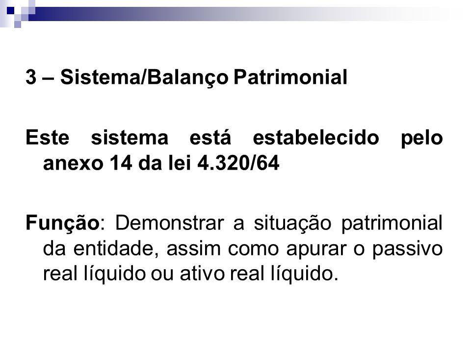 3 – Sistema/Balanço Patrimonial Este sistema está estabelecido pelo anexo 14 da lei 4.320/64 Função: Demonstrar a situação patrimonial da entidade, as
