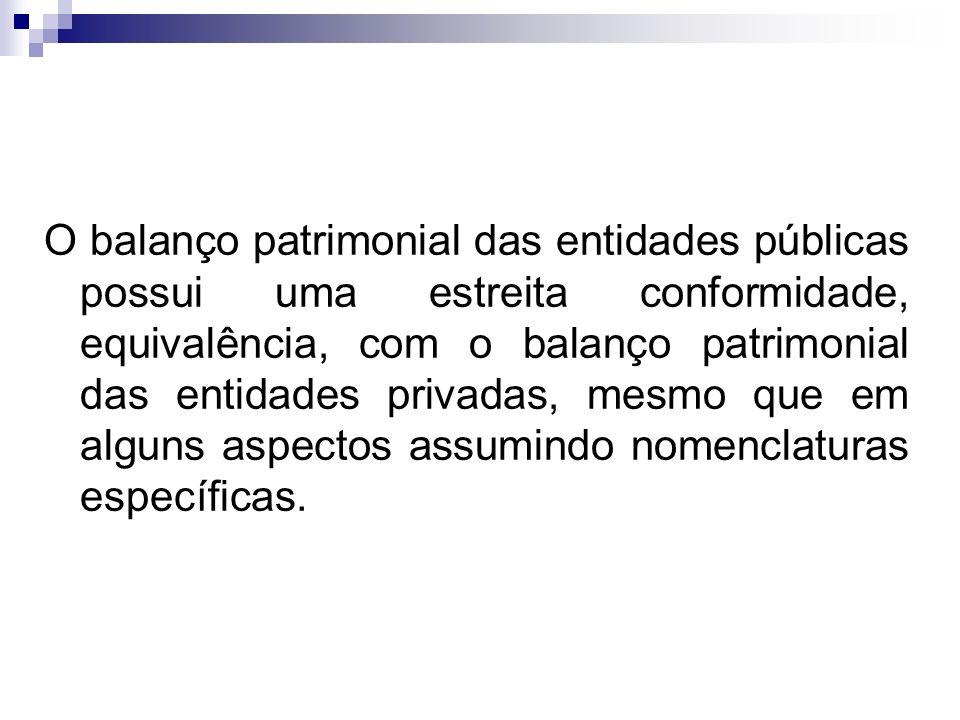 O balanço patrimonial das entidades públicas possui uma estreita conformidade, equivalência, com o balanço patrimonial das entidades privadas, mesmo q