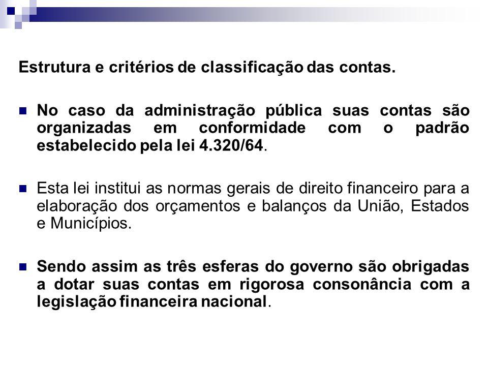 Estrutura e critérios de classificação das contas. No caso da administração pública suas contas são organizadas em conformidade com o padrão estabelec