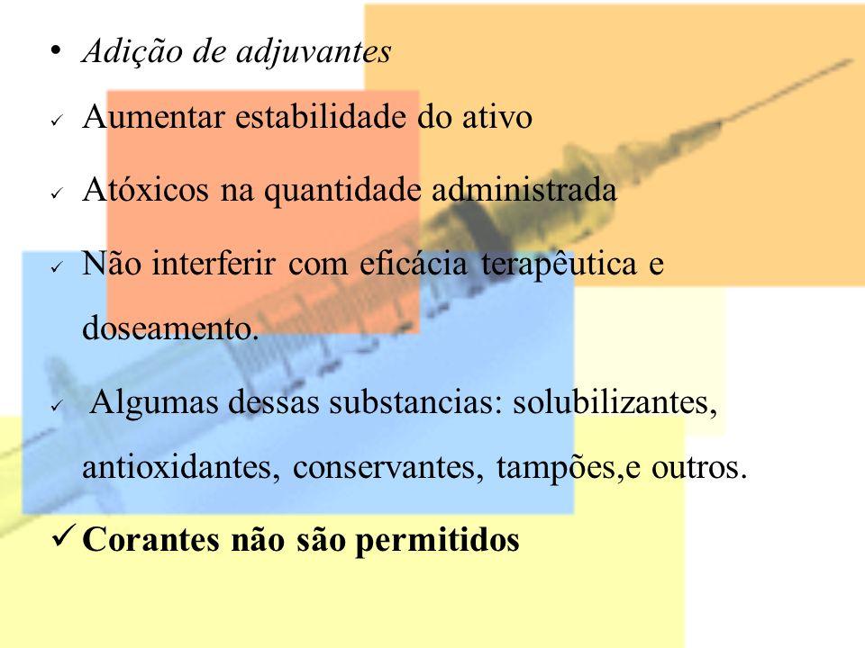 Adição de adjuvantes Aumentar estabilidade do ativo Atóxicos na quantidade administrada Não interferir com eficácia terapêutica e doseamento. Algumas
