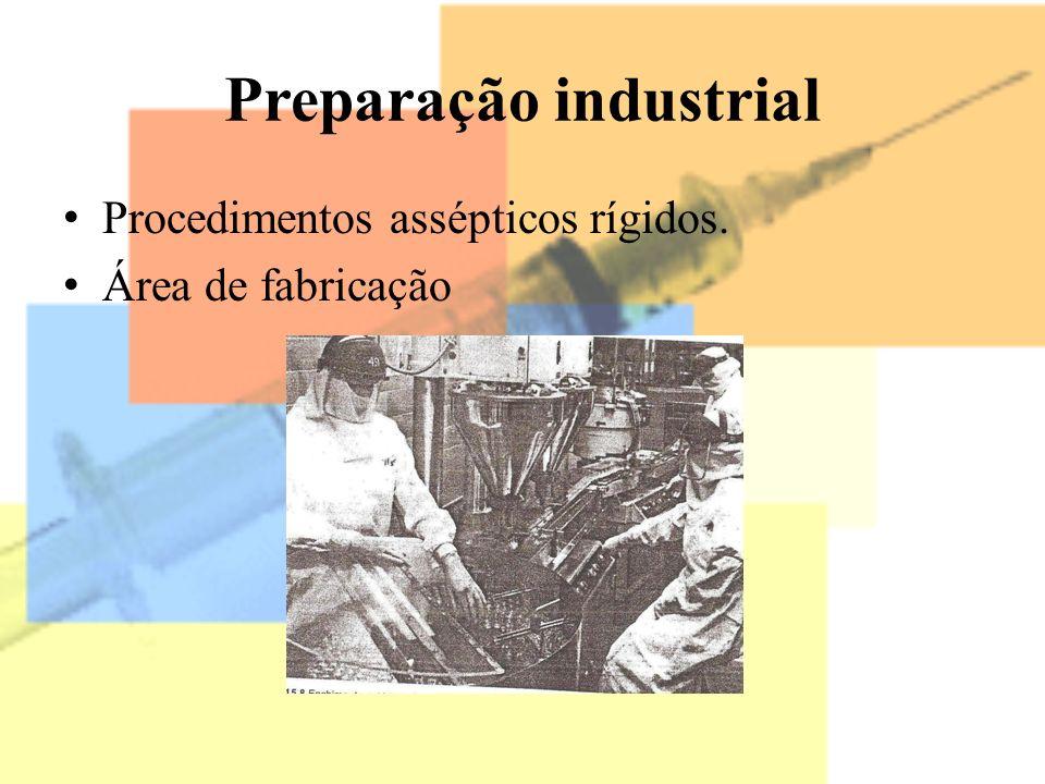 Preparação industrial Procedimentos assépticos rígidos. Área de fabricação
