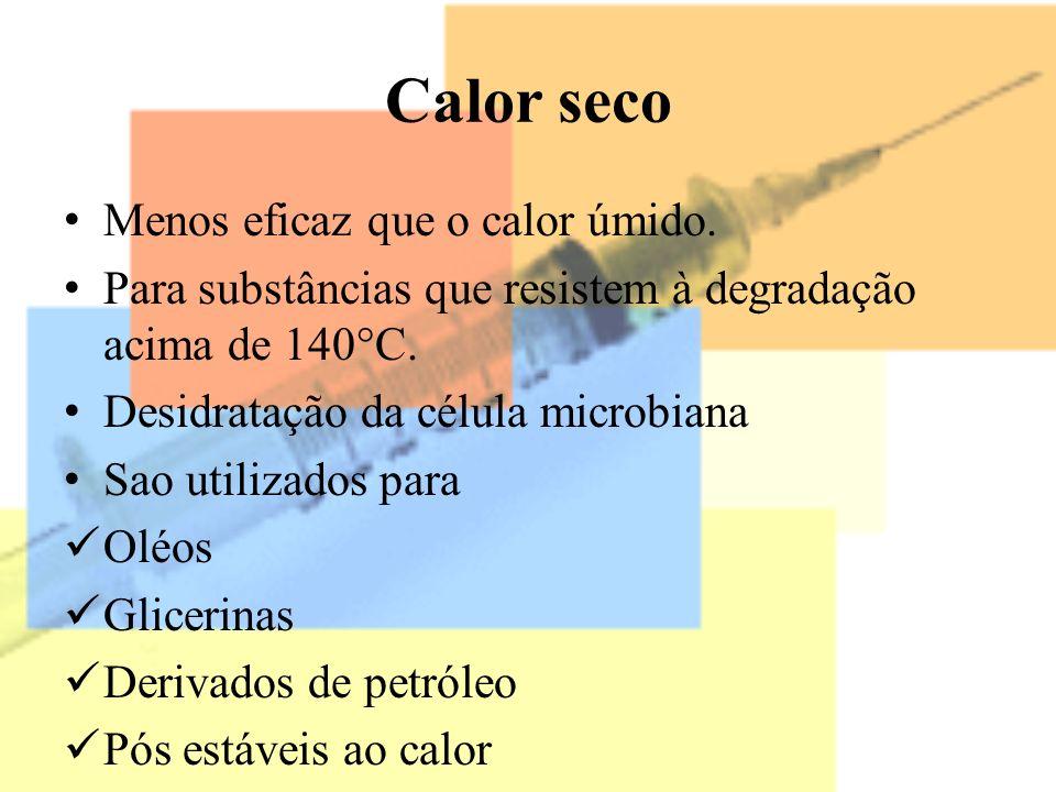Calor seco Menos eficaz que o calor úmido. Para substâncias que resistem à degradação acima de 140°C. Desidratação da célula microbiana Sao utilizados