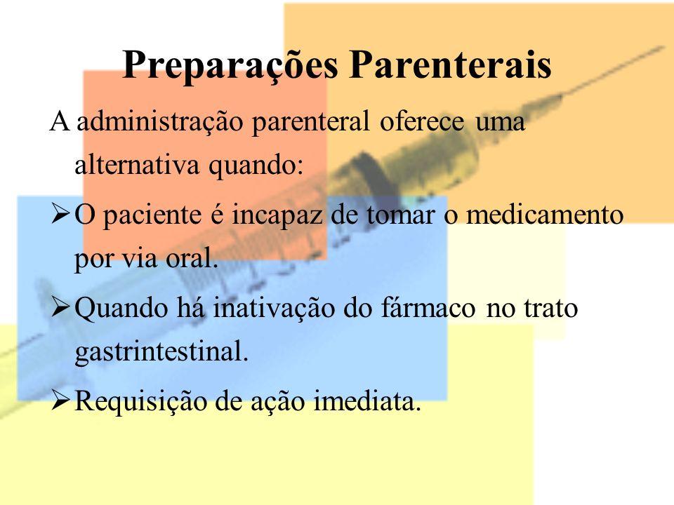 Preparações Parenterais A administração parenteral oferece uma alternativa quando: O paciente é incapaz de tomar o medicamento por via oral. Quando há