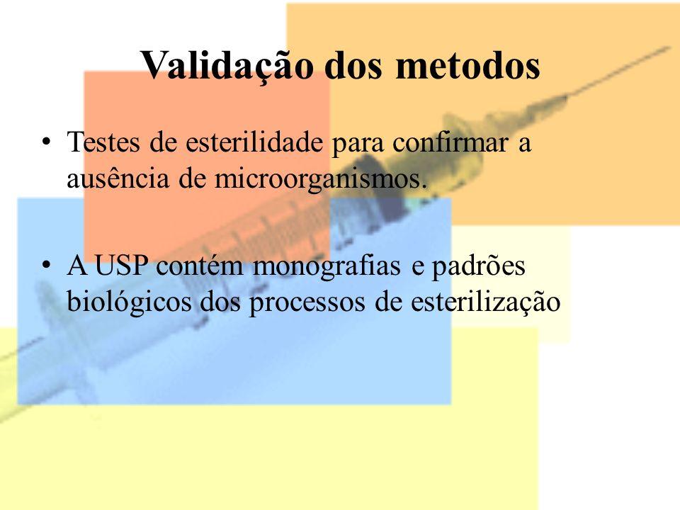 Validação dos metodos Testes de esterilidade para confirmar a ausência de microorganismos. A USP contém monografias e padrões biológicos dos processos