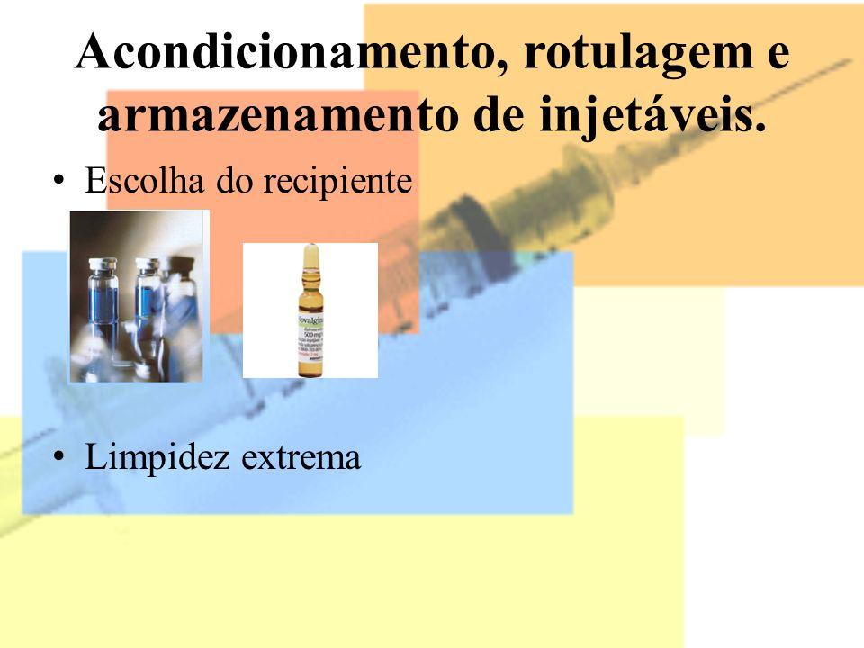 Acondicionamento, rotulagem e armazenamento de injetáveis. Escolha do recipiente Limpidez extrema