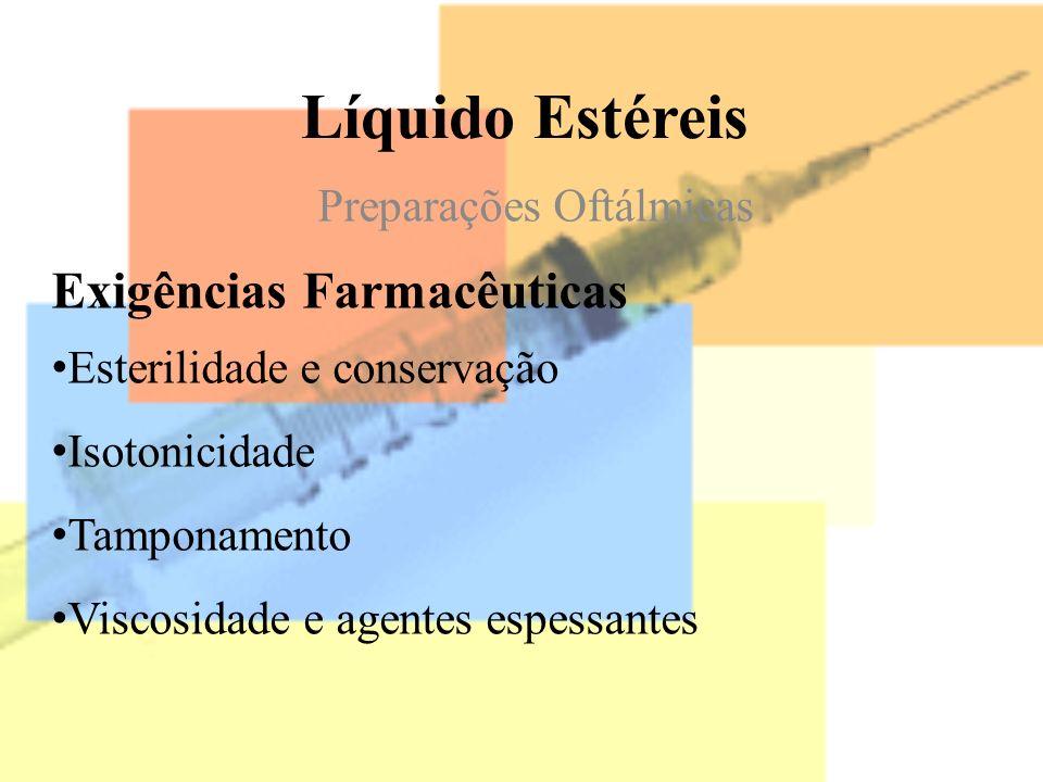 Líquido Estéreis Preparações Oftálmicas Exigências Farmacêuticas Esterilidade e conservação Isotonicidade Tamponamento Viscosidade e agentes espessant