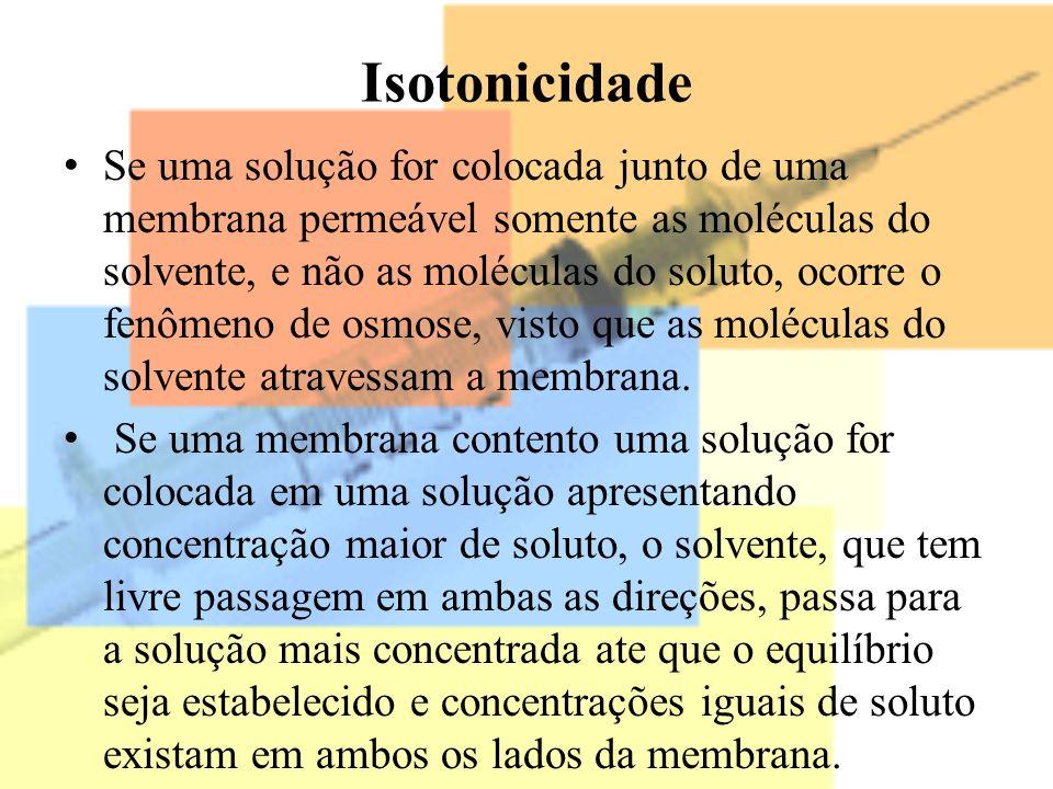 Isotonicidade Se uma solução for colocada junto de uma membrana permeável somente as moléculas do solvente, e não as moléculas do soluto, ocorre o fen