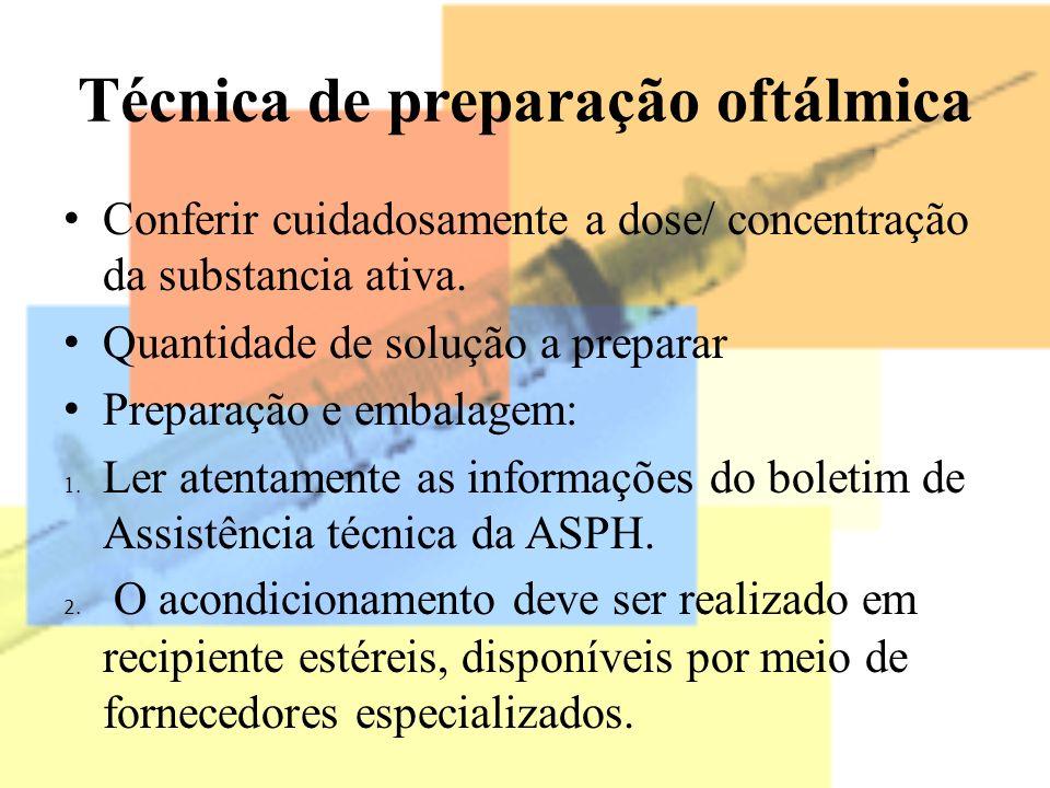 Técnica de preparação oftálmica Conferir cuidadosamente a dose/ concentração da substancia ativa. Quantidade de solução a preparar Preparação e embala