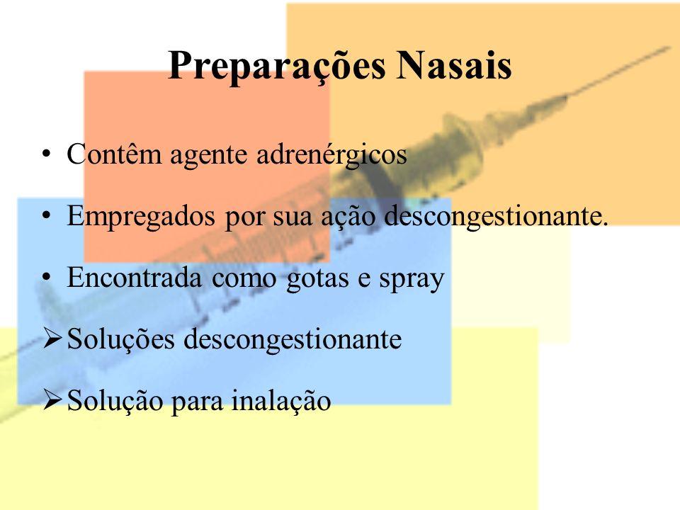 Preparações Nasais Contêm agente adrenérgicos Empregados por sua ação descongestionante. Encontrada como gotas e spray Soluções descongestionante Solu