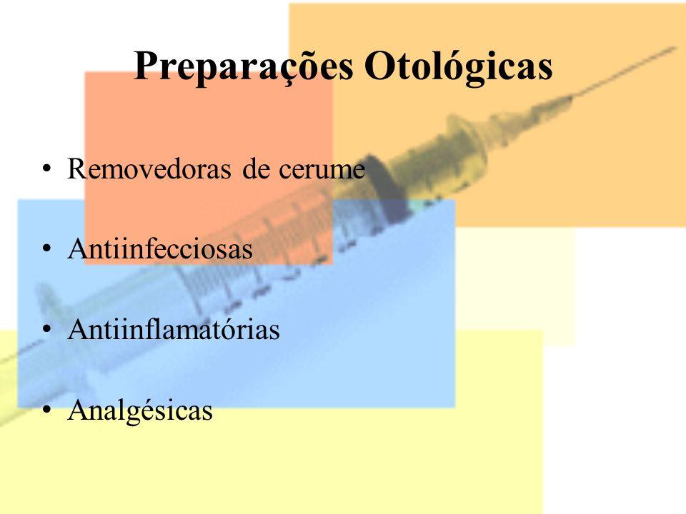 Preparações Otológicas Removedoras de cerume Antiinfecciosas Antiinflamatórias Analgésicas