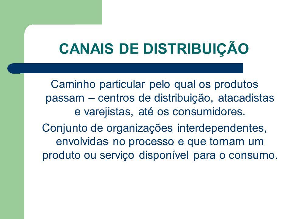 CANAIS DE DISTRIBUIÇÃO Caminho particular pelo qual os produtos passam – centros de distribuição, atacadistas e varejistas, até os consumidores.