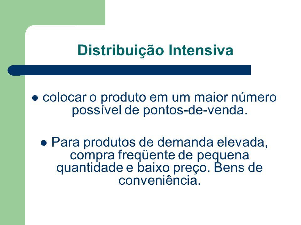 Distribuição Intensiva colocar o produto em um maior número possível de pontos-de-venda.