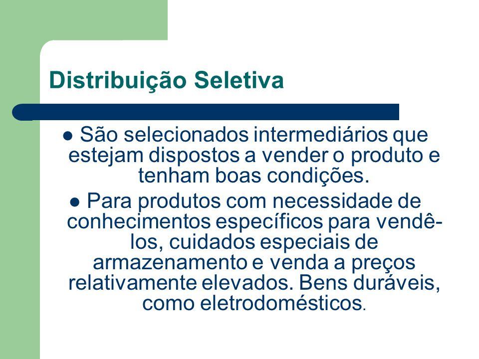 Distribuição Seletiva São selecionados intermediários que estejam dispostos a vender o produto e tenham boas condições.