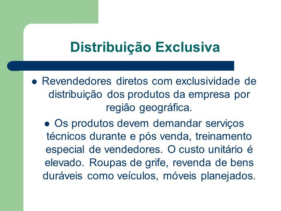 Distribuição Exclusiva Revendedores diretos com exclusividade de distribuição dos produtos da empresa por região geográfica.