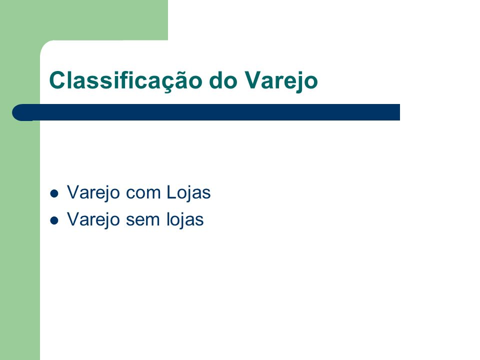 Classificação do Varejo Varejo com Lojas Varejo sem lojas