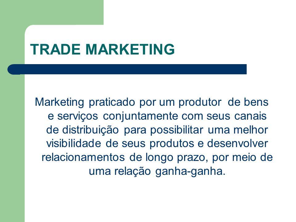 TRADE MARKETING Marketing praticado por um produtor de bens e serviços conjuntamente com seus canais de distribuição para possibilitar uma melhor visibilidade de seus produtos e desenvolver relacionamentos de longo prazo, por meio de uma relação ganha-ganha.