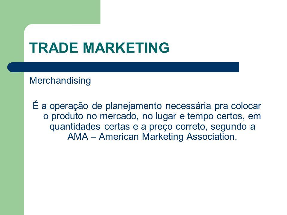 TRADE MARKETING Merchandising É a operação de planejamento necessária pra colocar o produto no mercado, no lugar e tempo certos, em quantidades certas e a preço correto, segundo a AMA – American Marketing Association.