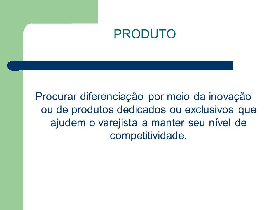 PRODUTO Procurar diferenciação por meio da inovação ou de produtos dedicados ou exclusivos que ajudem o varejista a manter seu nível de competitividade.