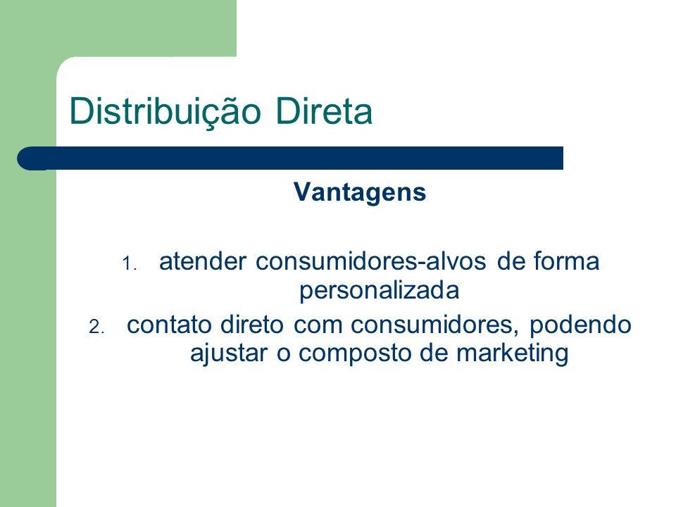 Distribuição Direta Vantagens 1.atender consumidores-alvos de forma personalizada 2.