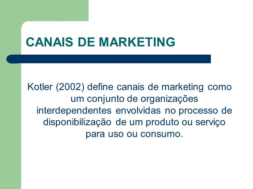 CANAIS DE MARKETING Kotler (2002) define canais de marketing como um conjunto de organizações interdependentes envolvidas no processo de disponibilização de um produto ou serviço para uso ou consumo.