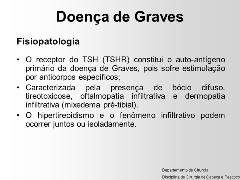 Doença de Graves Fisiopatologia O receptor do TSH (TSHR) constitui o auto-antígeno primário da doença de Graves, pois sofre estimulação por anticorpos