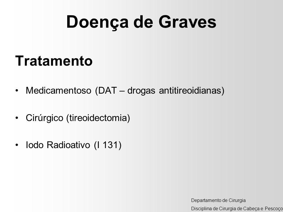 Doença de Graves Tratamento Medicamentoso (DAT – drogas antitireoidianas) Cirúrgico (tireoidectomia) Iodo Radioativo (I 131) Departamento de Cirurgia