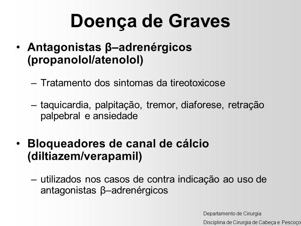 Doença de Graves Antagonistas β–adrenérgicos (propanolol/atenolol) –Tratamento dos sintomas da tireotoxicose –taquicardia, palpitação, tremor, diafore
