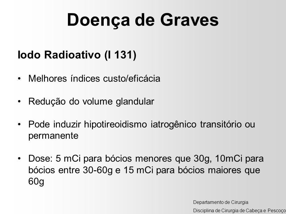 Doença de Graves Iodo Radioativo (I 131) Melhores índices custo/eficácia Redução do volume glandular Pode induzir hipotireoidismo iatrogênico transitó